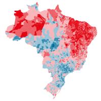 Mapa Eleitoral Azul ( Aécio) e Vermelho ( Dilma) - Arte: Folha de São Paulo